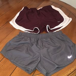 Nike Dri-Fit running shorts with liner. Both M